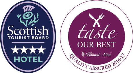 Scottish Tourist Board, 4 Star Hotel Badge. Taste our best, quality assured 2016/17. Visit Scotland | Alba.